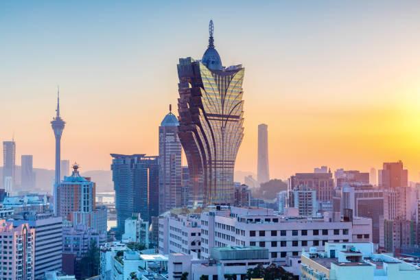 city skyline at sunset, Macau stock photo