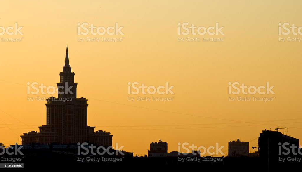 City skyline at sunset royalty-free stock photo