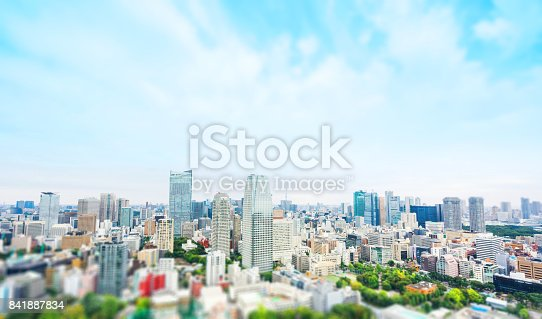 istock city skyline bird eye aerial view from tokyo tower under dramatic sunny and morning blue cloudy sky in Tokyo, Japan. Miniature Tilt-shift effect 841887834