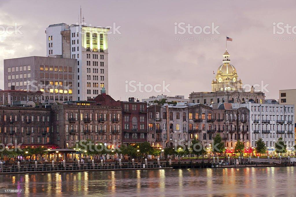 City skyline by harbor in Savannah stock photo