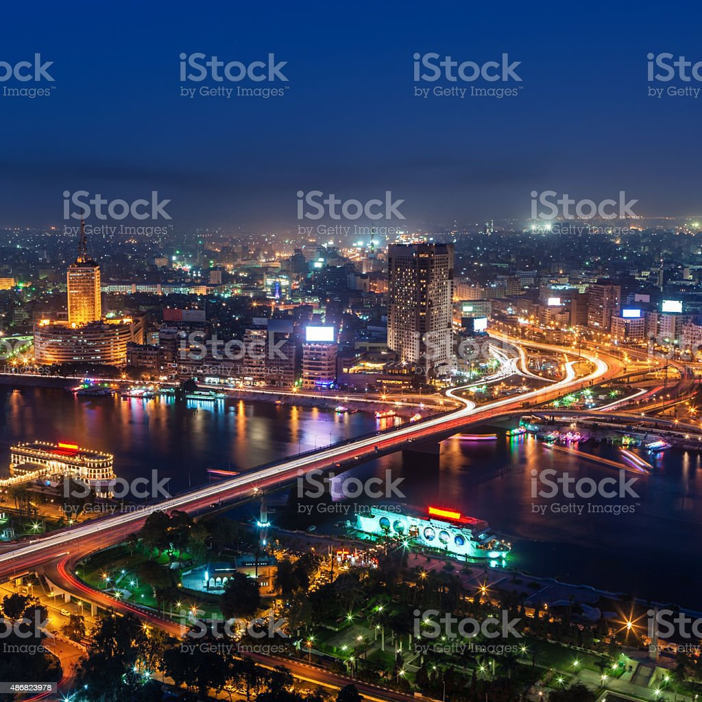 City skyline - Cairo at dusk aerial view stock photo