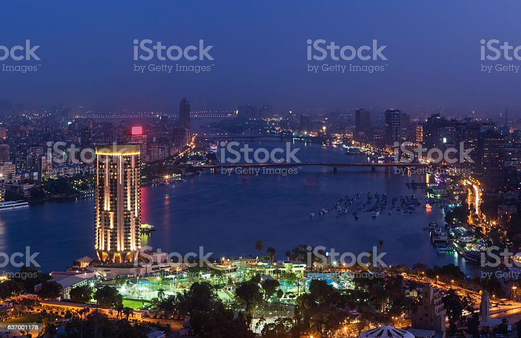 City skyline - Cairo at dusk stock photo