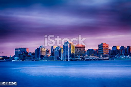 A beautiful image of the Halifax, Nova Scotia, Canada skyline at sunset.