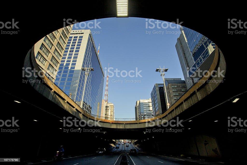 City skyline from Paulista Avenue in Sao Paulo, Brazil stock photo