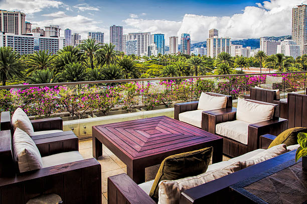 city skyline in honolulu - hawaii home stock photos and pictures