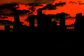 """A city skyline of skyscraper building in black silhouette with a red sky and black and green clouds. The spooky scene makes a great background for """"dark themes"""".  Halloween, evil, scary. Apocalypse style.  Houston, Texas, USA skyline."""