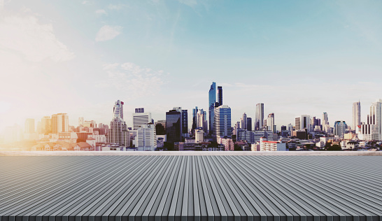 693903950 istock photo City skyline in sunrise, city background 692775872