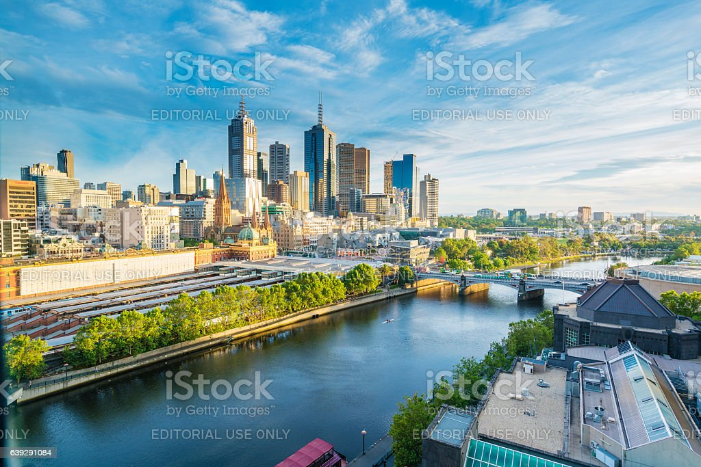 City skyline in the morning stock photo