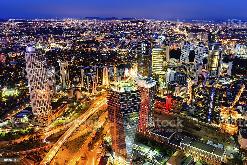 City skyline -  Istanbul at dusk royalty-free stock photo