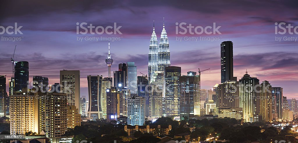 City skyline - Kuala Lumpur at dusk panoramic view stock photo