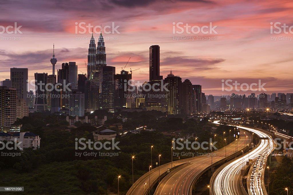 City skyline - Kuala Lumpur at dusk royalty-free stock photo