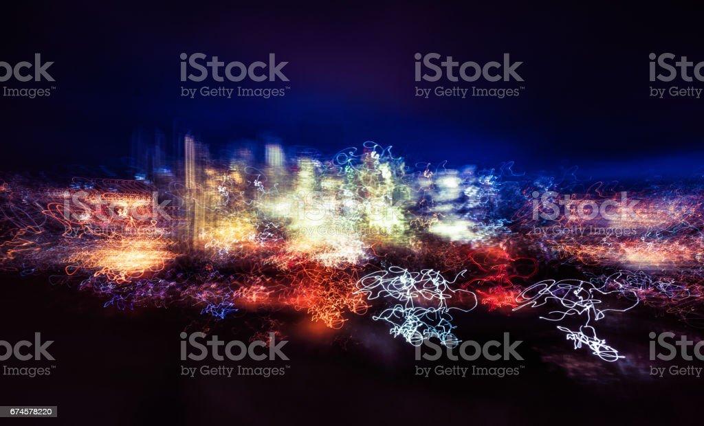 City skyline long exposure - painting with light stock photo