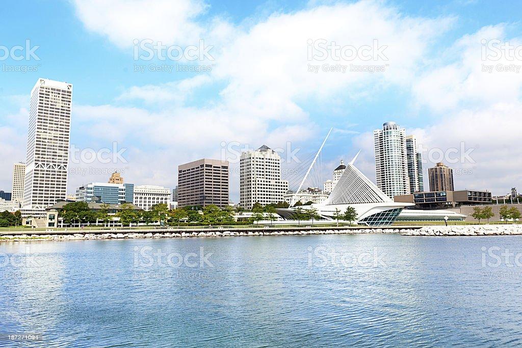 City Skyline, Milwaukee, Wisconsin, USA viewed from Lake Michigan Waterfront stock photo