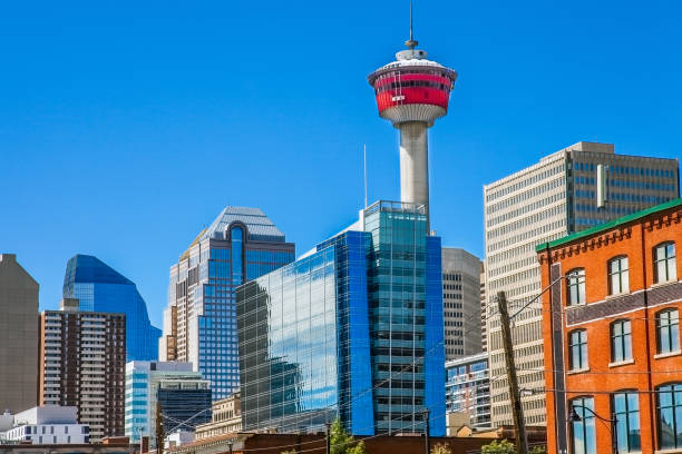 City skyline of Calgary Canada stock photo
