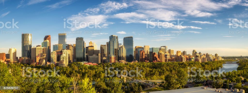 City skyline of Calgary with Bow River, Canada stock photo