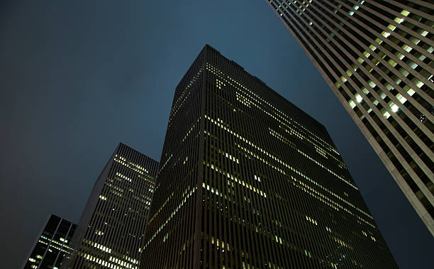 City Skyline Office Towers Skyscrapers at Night stock photo