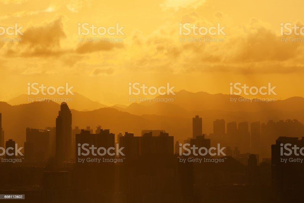 City skyline under sunset stock photo