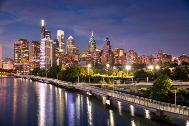 City skyline view of Philadelphia Pennsylvania stock photo
