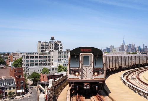 Subway train heading to Brooklyn