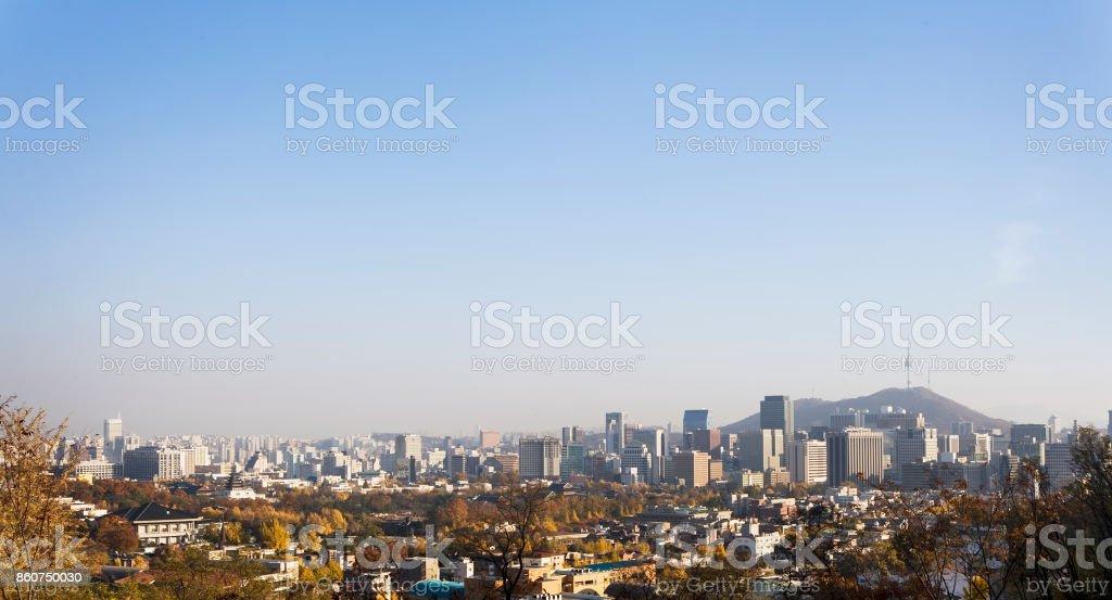 City Skyline with seoul tower. stock photo