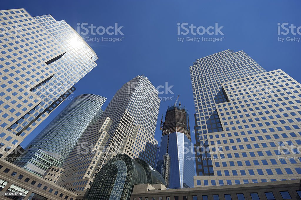City Skyline with Skyscraper Under Construction stock photo