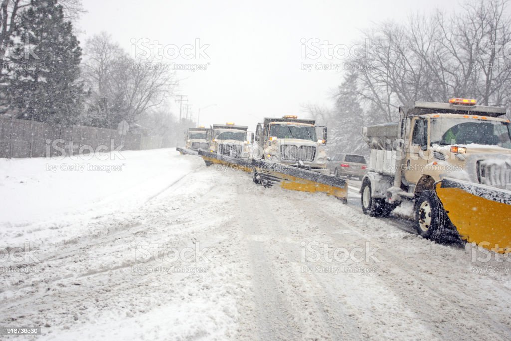 City Snow Plows stock photo