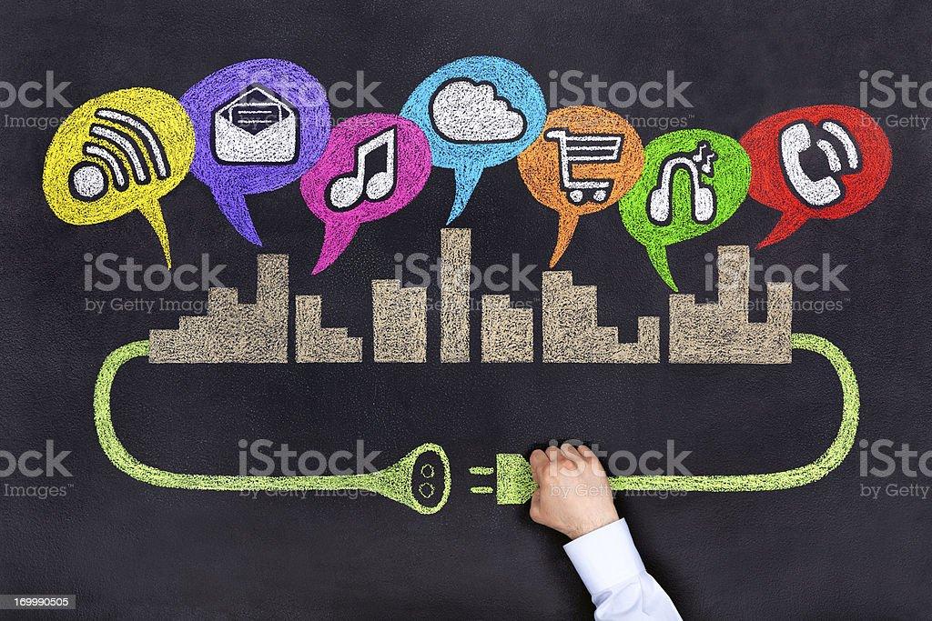 City Socical Netzwerk Lizenzfreies stock-foto