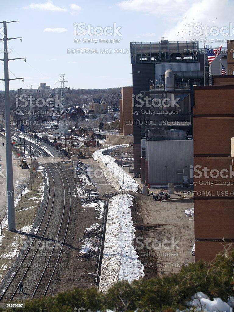City Spring Flood Preparations stock photo