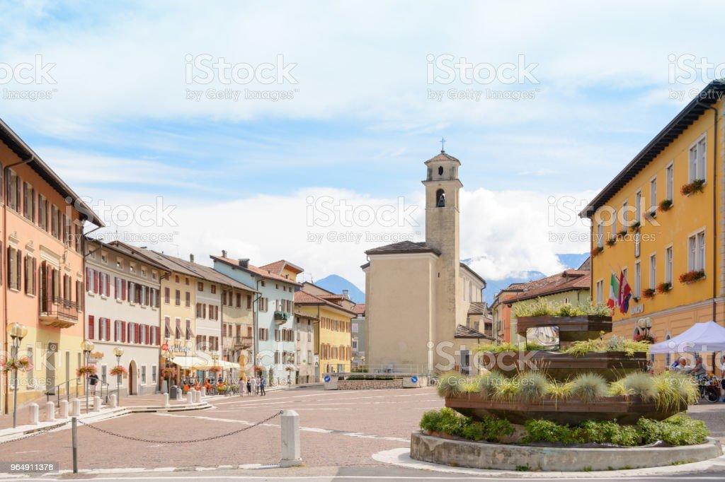 city square in the Borgo Valsugana , a village in the Italian Alps royalty-free stock photo