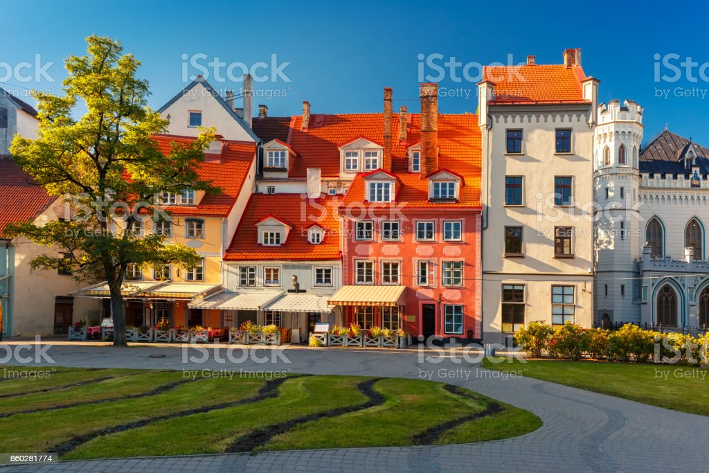 City square in the Old Town of Riga, Latvia royalty-free stock photo