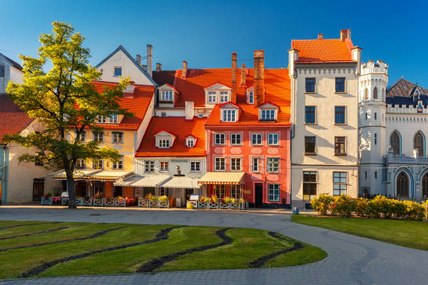 City square in the Old Town of Riga, Latvia stock photo