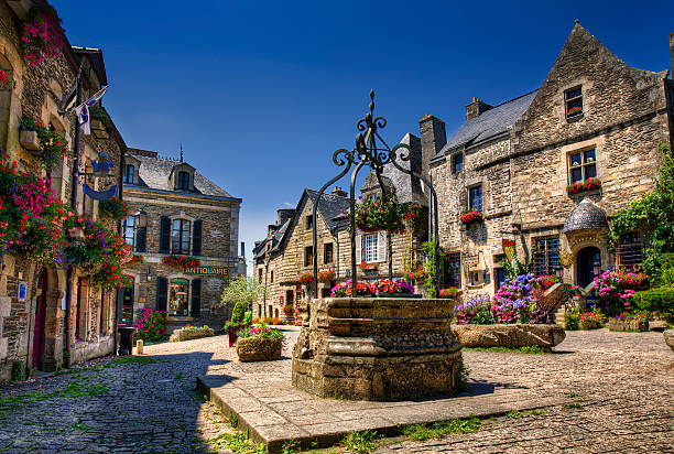 City Square of Rochefort en Terre, Brittany ストックフォト