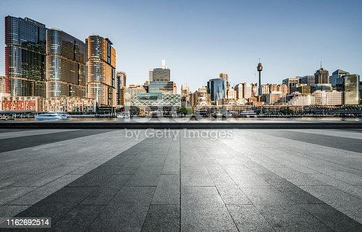 empty pavement front of city skyline,sydney,Australia.