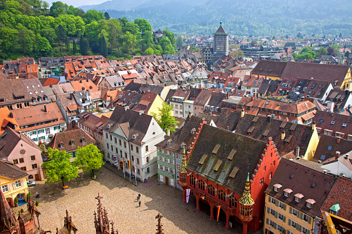 City square roof top view in Freiburg, Germany