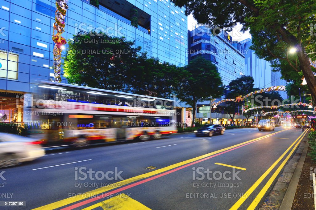 City Street and Cityscape at Sunset, Singapore stock photo
