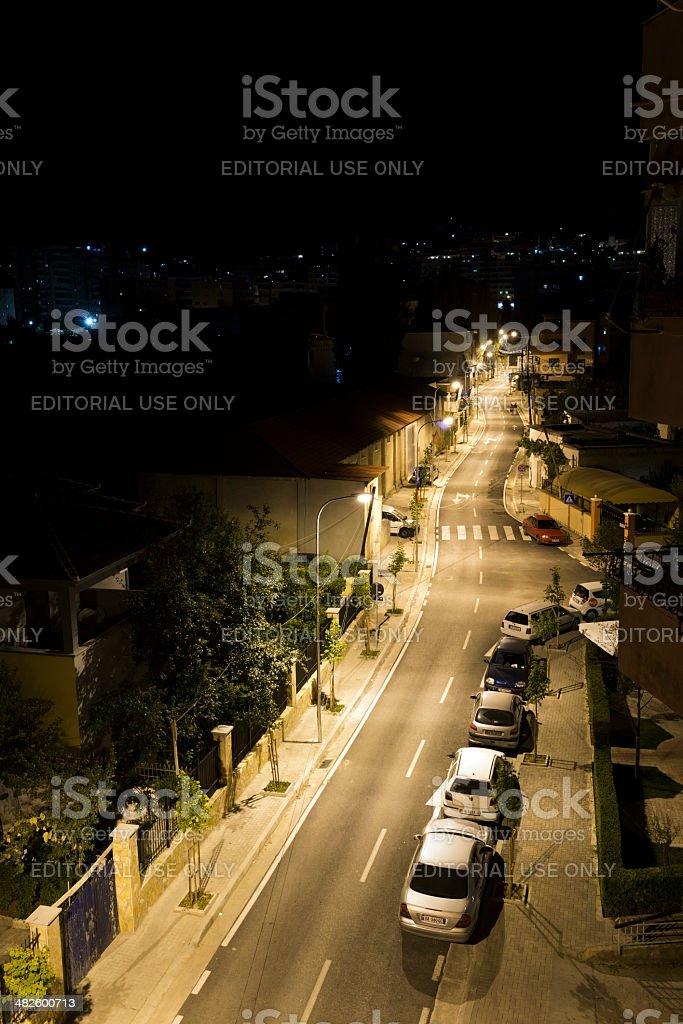 City street at night in Tirana, Albania royalty-free stock photo