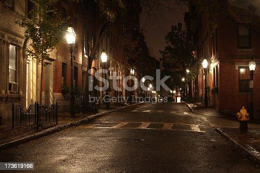 City street in the Beacon Hill neighborhood of Boston