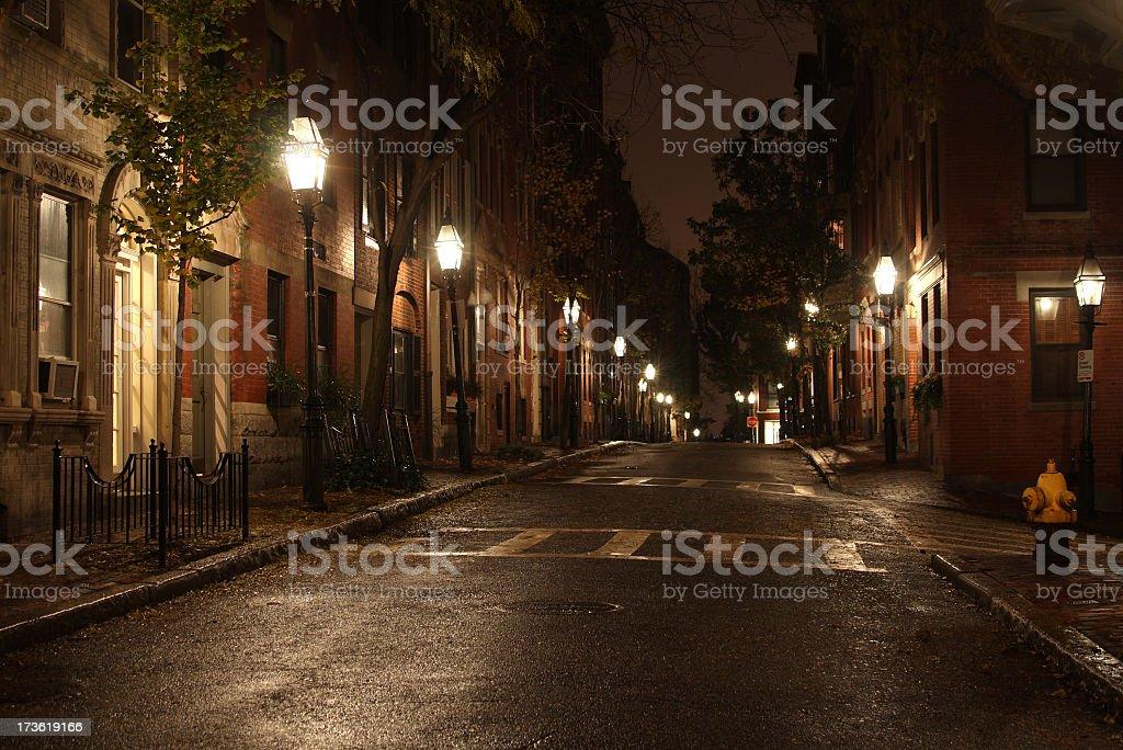 City Street at Night stock photo