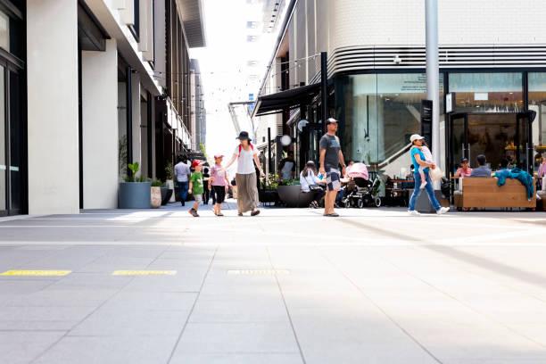 city street, exchange place, barangaroo, sydney australia - barangaroo stock photos and pictures