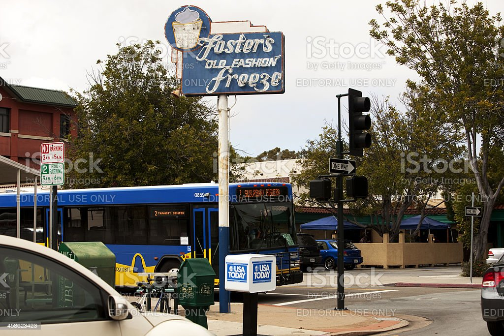 City Street Foster Freeze Sign royalty-free stock photo