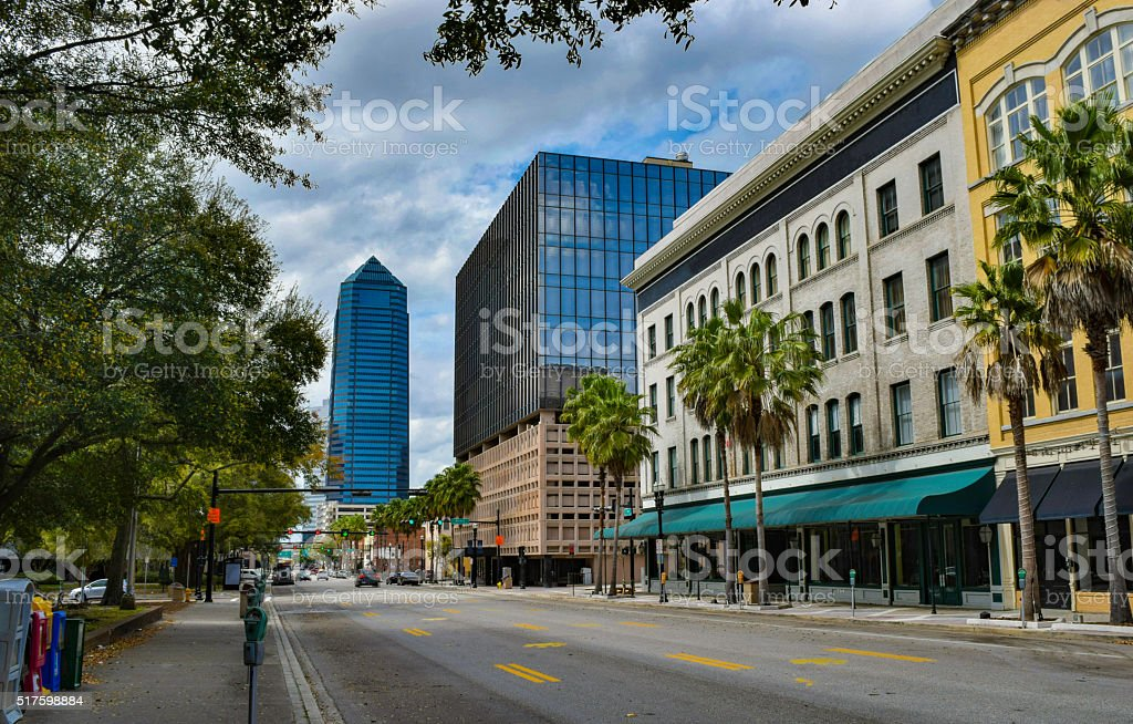 City Street in Downtown Jacksonville, Florida stock photo