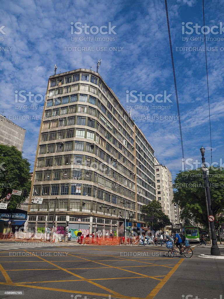 City street in downtown Sao Paulo, Brazil royalty-free stock photo