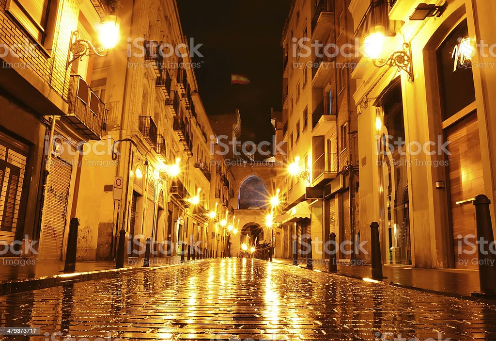 City street in night, Valencia, Spain stock photo