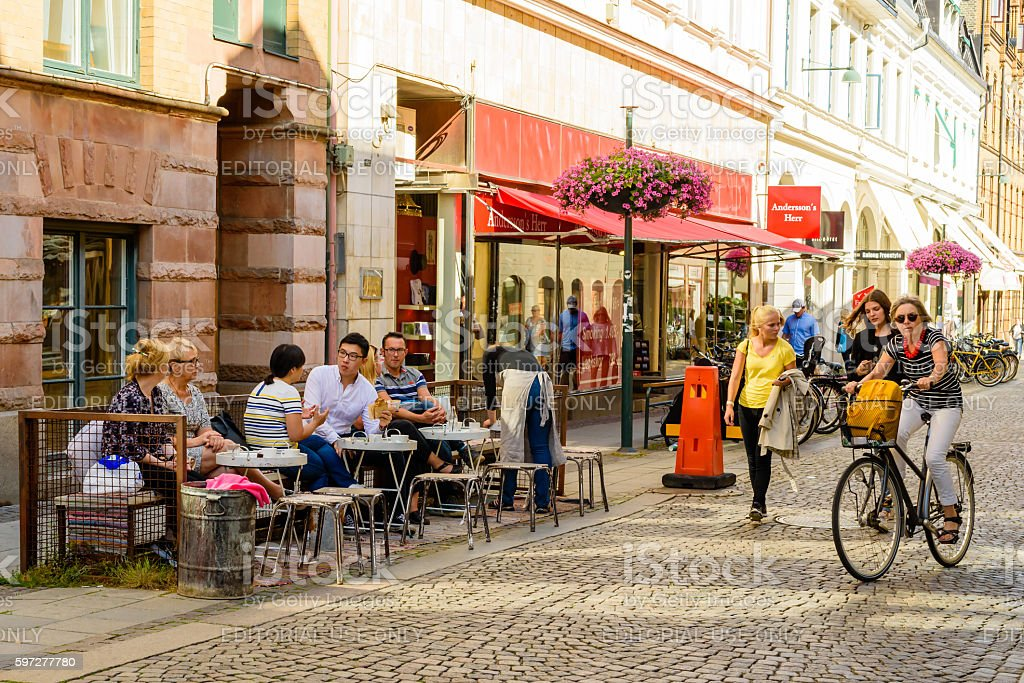City street life in Lund stock photo