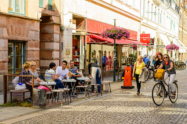 city street life in lund - lund stock photos and pictures