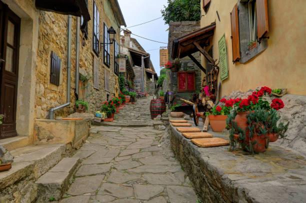 City Street of Hum, Croatia stock photo