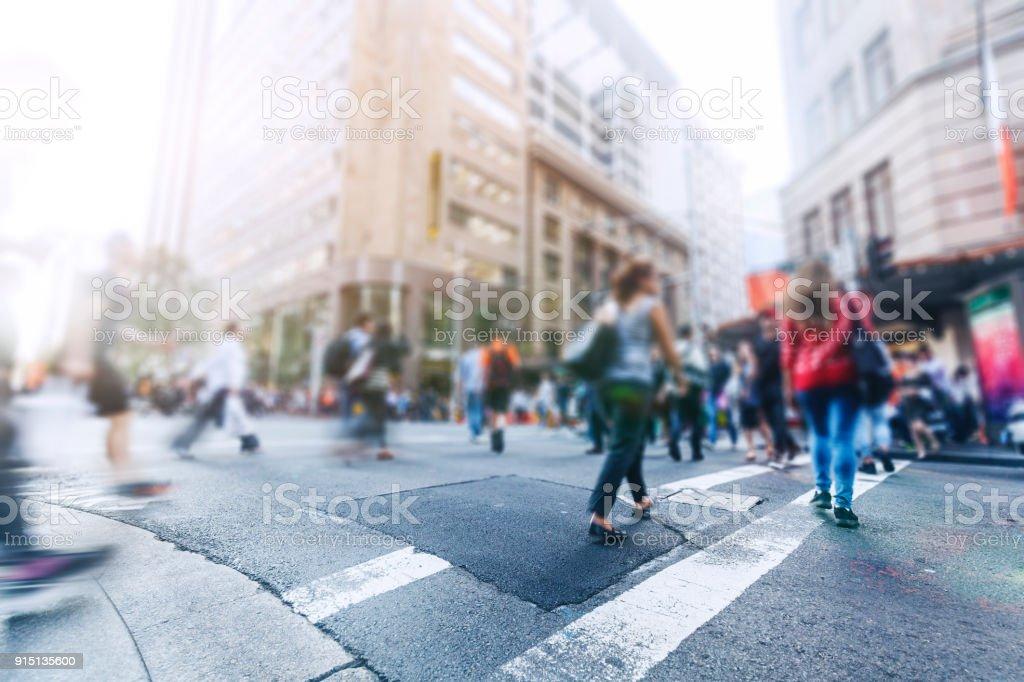City street pedestrian stock photo