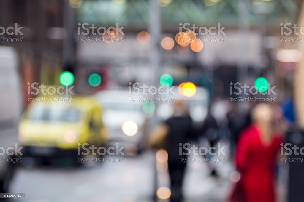 City Street Scene Cars & People. Soft Focus. Urban Lifestyle stock photo