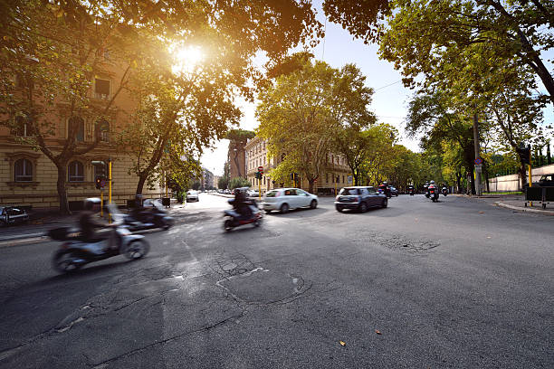 city street scenes, rome, italy - autos und motorräder stock-fotos und bilder