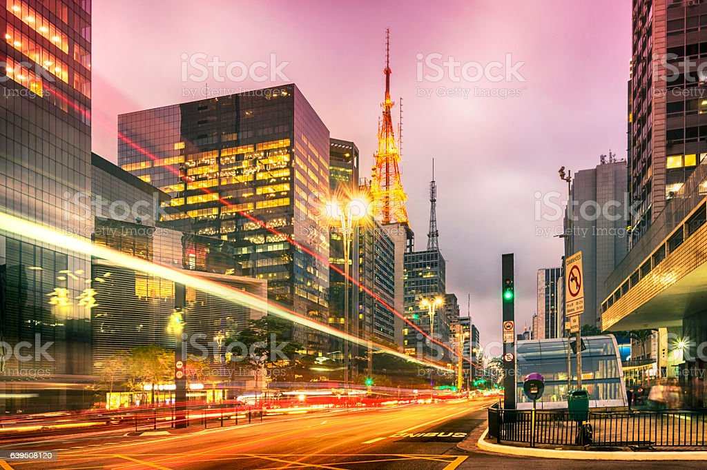 City street showing traffic flow lines with long exposure stock photo
